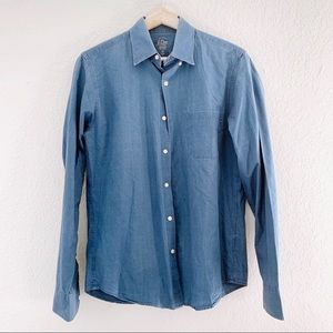 J CREW CHAMBRAY BLUE DENIM SLIM FIT TOP (0880)